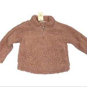 Elodie 1/4 zip teddy bear fleece blush pink NWT - Size 3T